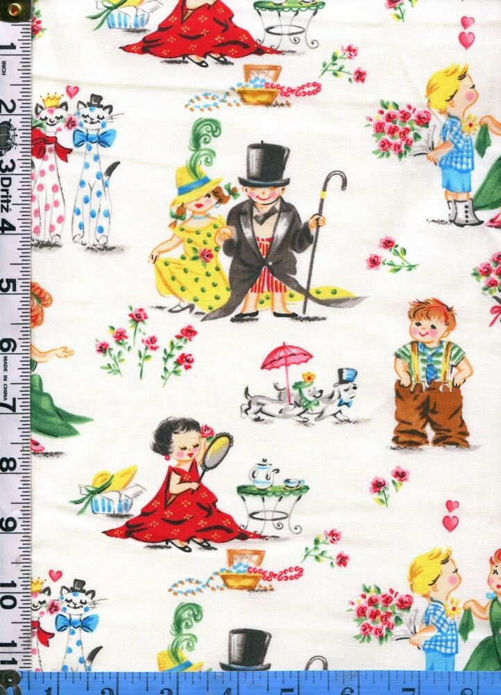 Fabric miller romance 50s retro kids play dress up love for Childrens dress fabric
