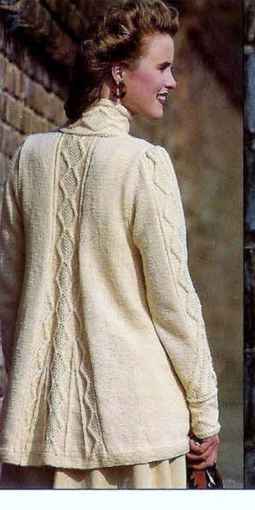 Ladies Aran Cardigan With Hood Knitting Pattern : Ladies Lovely Cable Swing style Jacket- Knitting pattern ...