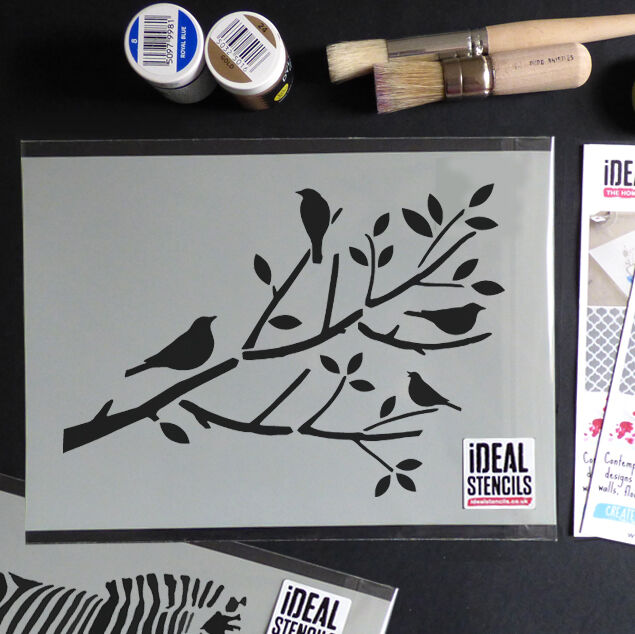 Stencils For Wall Decor : Birds on branch tree stencil reusable home wall decor