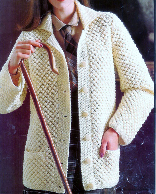 Knitting Scarf Free Patterns : Lovely easy Knit ladies Jacket- knitting pattern in Aran wool- chest 32-38&qu...
