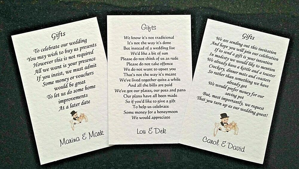 Wedding Poem Cards requesting money vouchers for your invitations ...