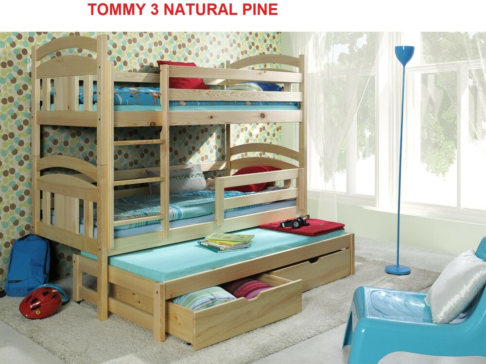 bunk beds wooden triple children 39 s mattresses storage white pine solid 3 sleeper ebay. Black Bedroom Furniture Sets. Home Design Ideas