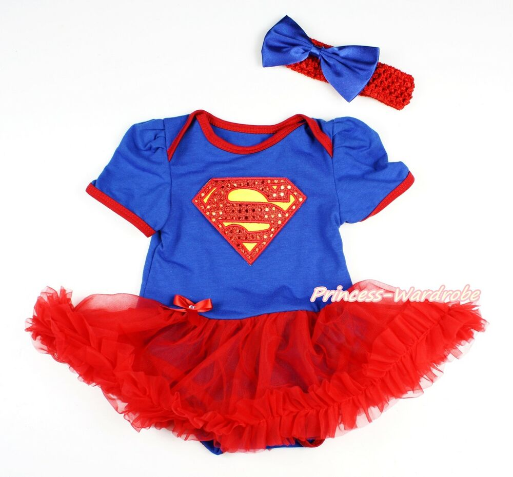 Royal blue bodysuit red girls costume baby dress outfit nb 18m ebay