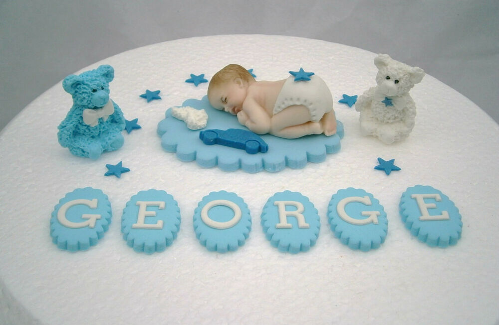 Personalised edible baby blue christening cake topper baby for How to make edible cake decorations at home