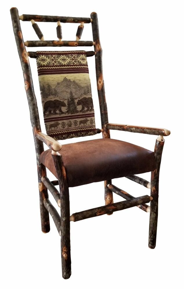 Rustic hickory high back dining arm chairs set of 2 9 for High back dining room chairs with arms