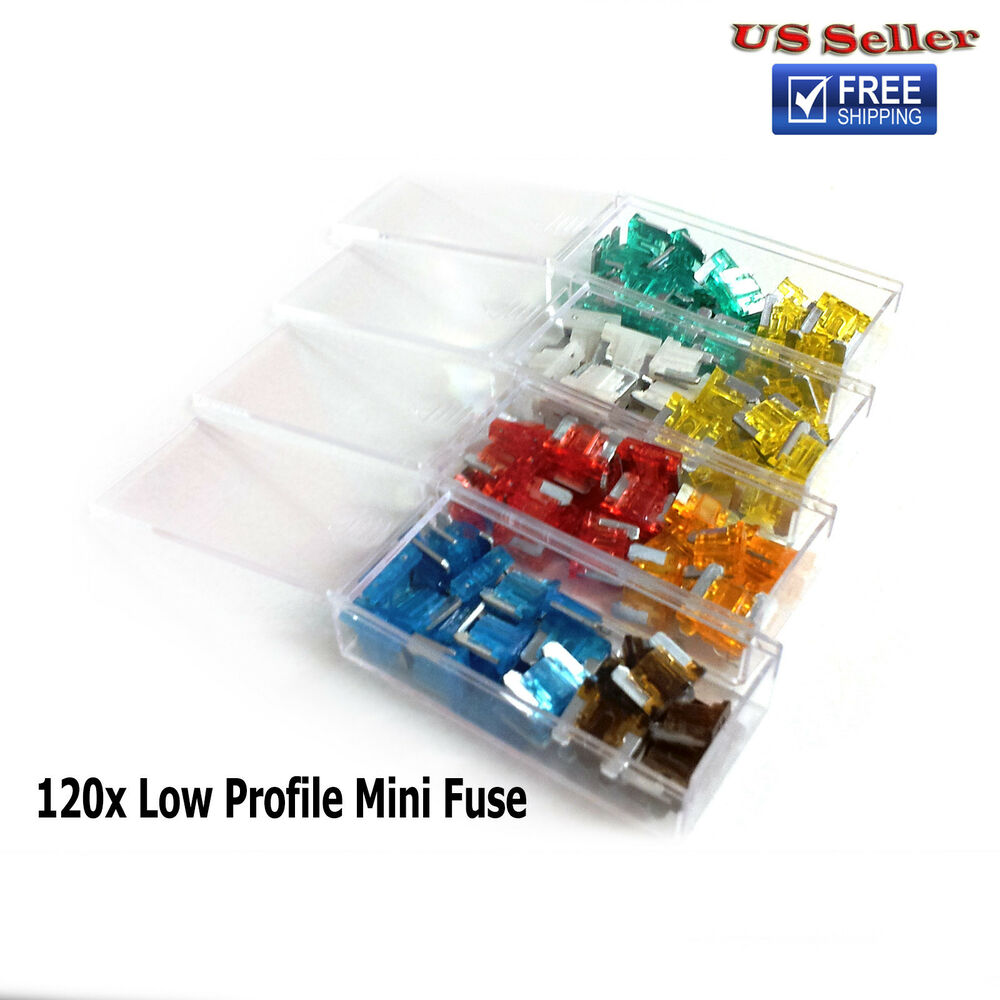 120 Pcs Low Profile Mini Car Fuse Assorted Color Coded Auto Cars  U0026 Trucks Fuses
