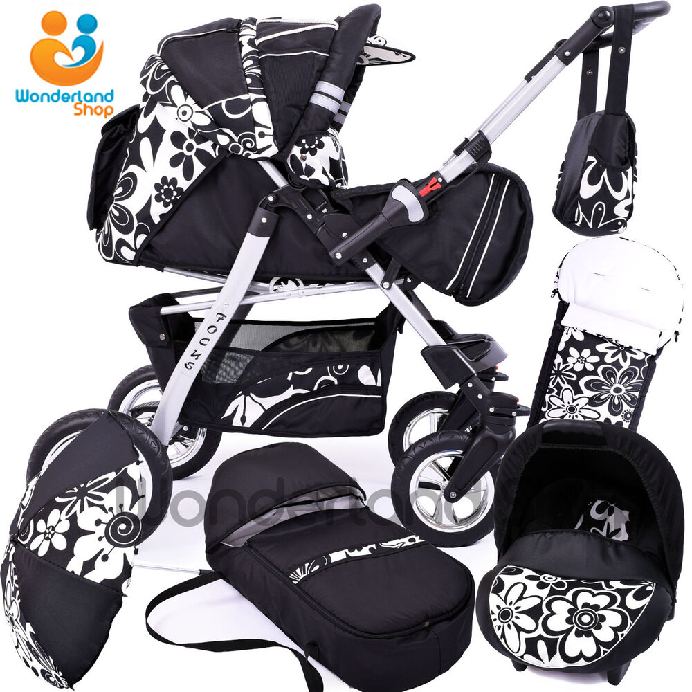 Baby Pram 3in1 Car Seat Swivel Wheels Stroller
