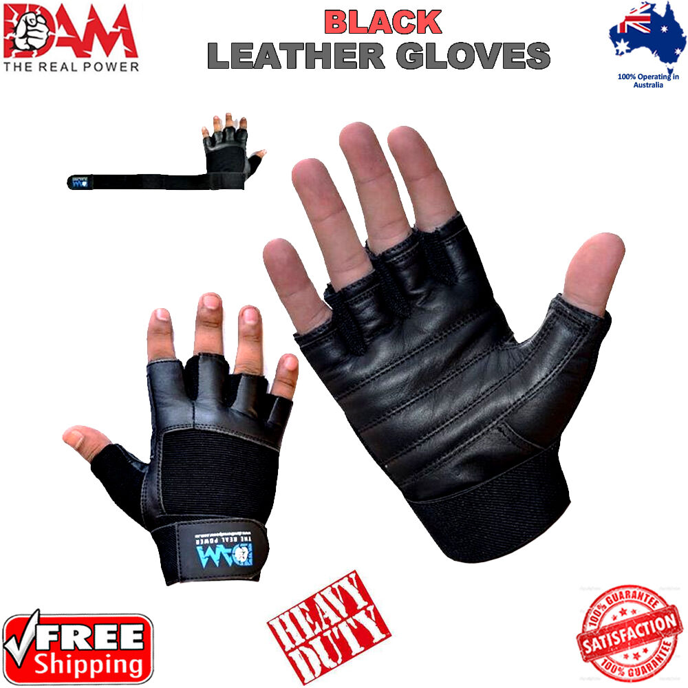 Weight Lifting Gloves Leather Fitness Gym Training Workout: DAM GYM WEIGHT LIFTING GLOVES BODY BUILDING WORKOUT