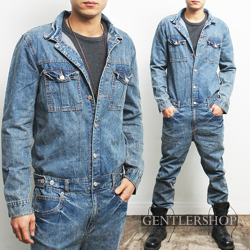 mens fashion standard fit long sleeve one piece blue overall jean  gentlershop