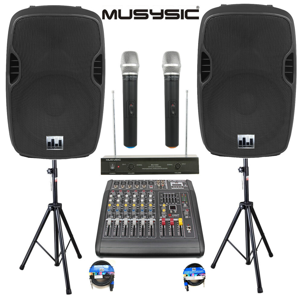 complete professional 2000w pa system 6 ch mixer 15 speakers wireless mics bt ebay. Black Bedroom Furniture Sets. Home Design Ideas