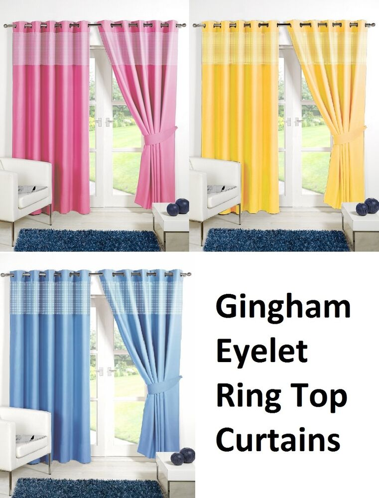 Childrens gingham thermal blackout curtains eyelet ring for Childrens curtains uk