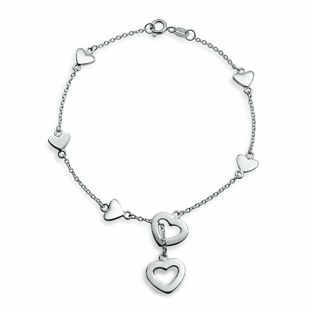 bling jewelry 925 sterling silver heart charm lariat. Black Bedroom Furniture Sets. Home Design Ideas