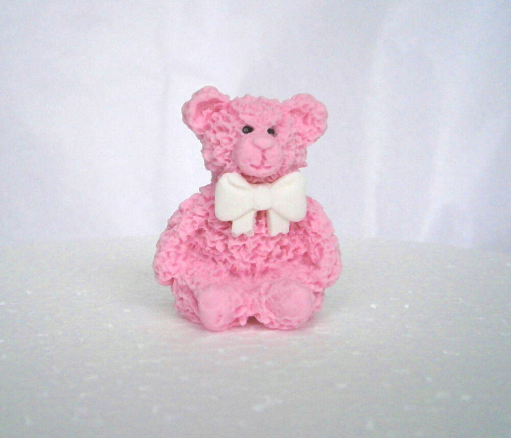 Pink Teddy Bear Baby Shower: 12 Edible Pink Teddy Bear Cake Toppers / Baby Shower