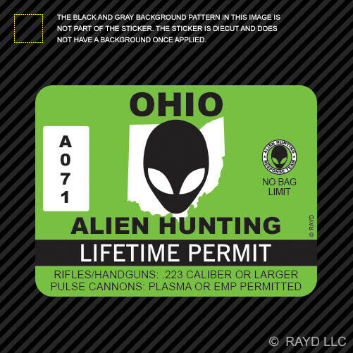 Ohio alien hunting permit sticker decal self adhesive for Buy ohio fishing license