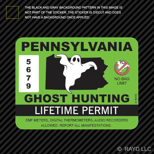 Pennsylvania ghost hunting permit sticker self adhesive for Nebraska fishing license