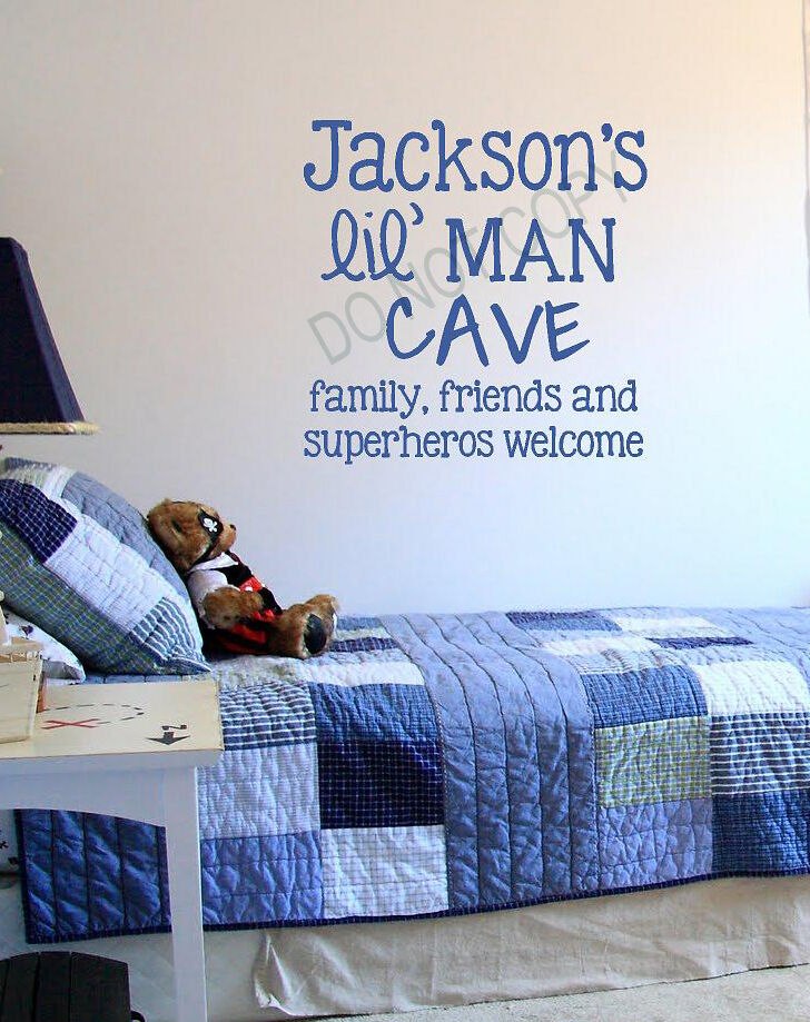 Man Cave Word Art : Personalized lil man cave vinyl lettering boys wall decals