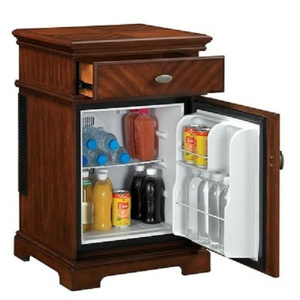 Compact refrigerator end table furniture mini fridge chest for 0 1 couch to fridge