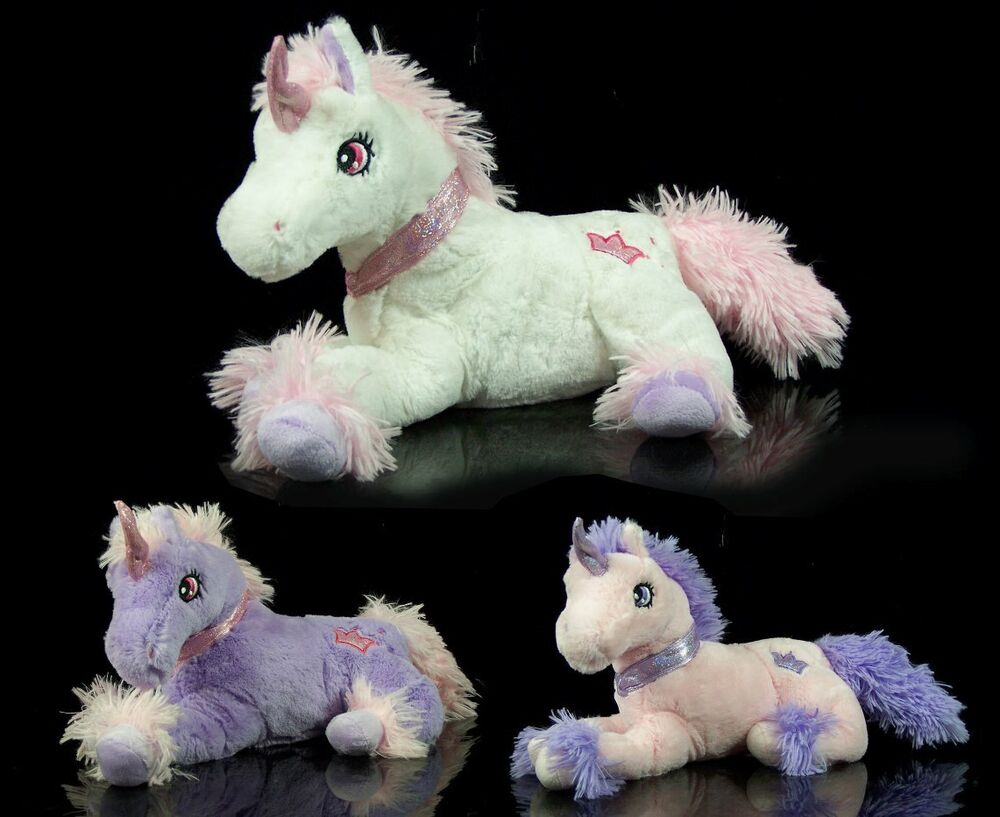 niedliches xl pl sch einhorn lila rosa 45 cm stofftier kuscheltier pferd pony ebay. Black Bedroom Furniture Sets. Home Design Ideas
