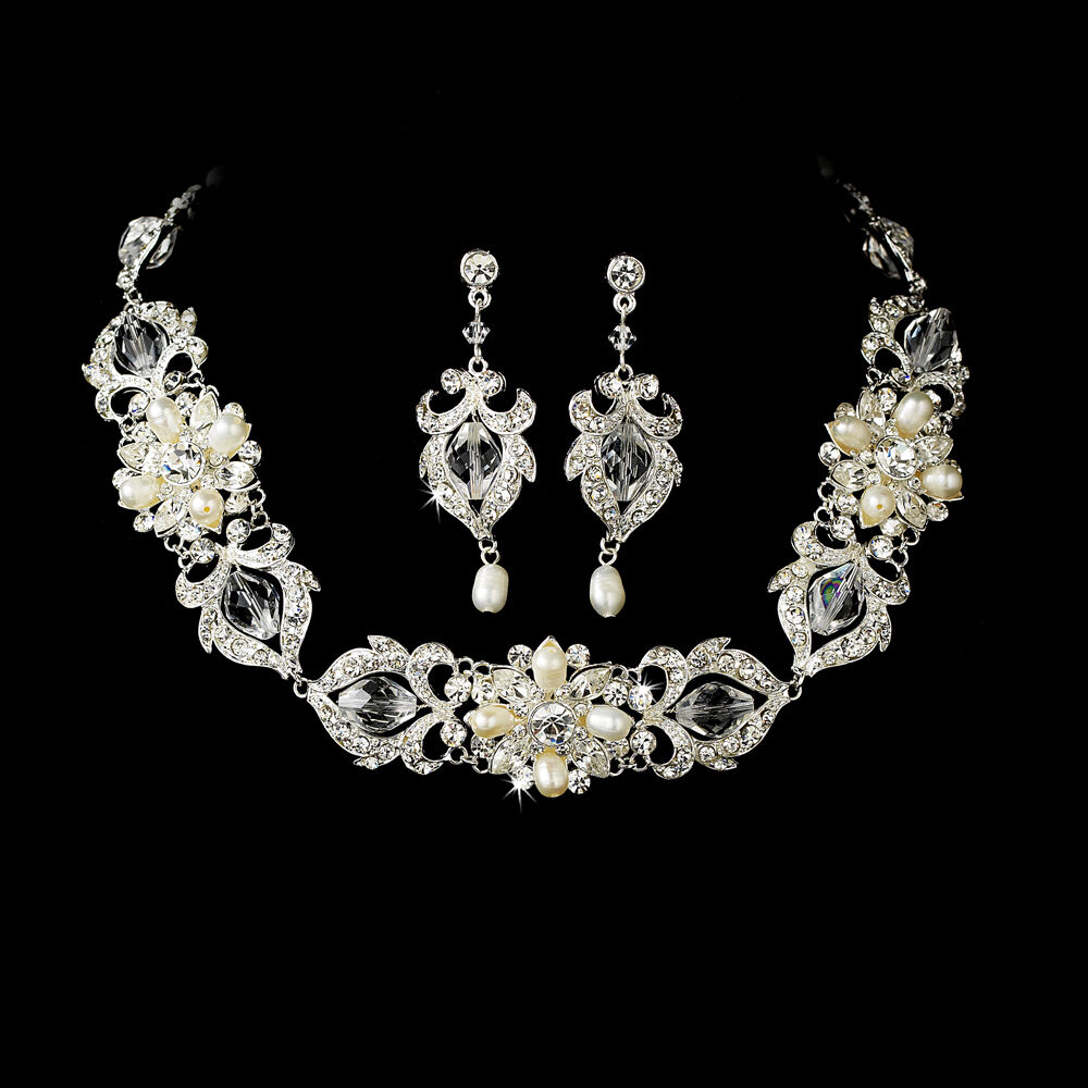 Silver Or Gold Swarovski Crystal Pearl Necklace Earring