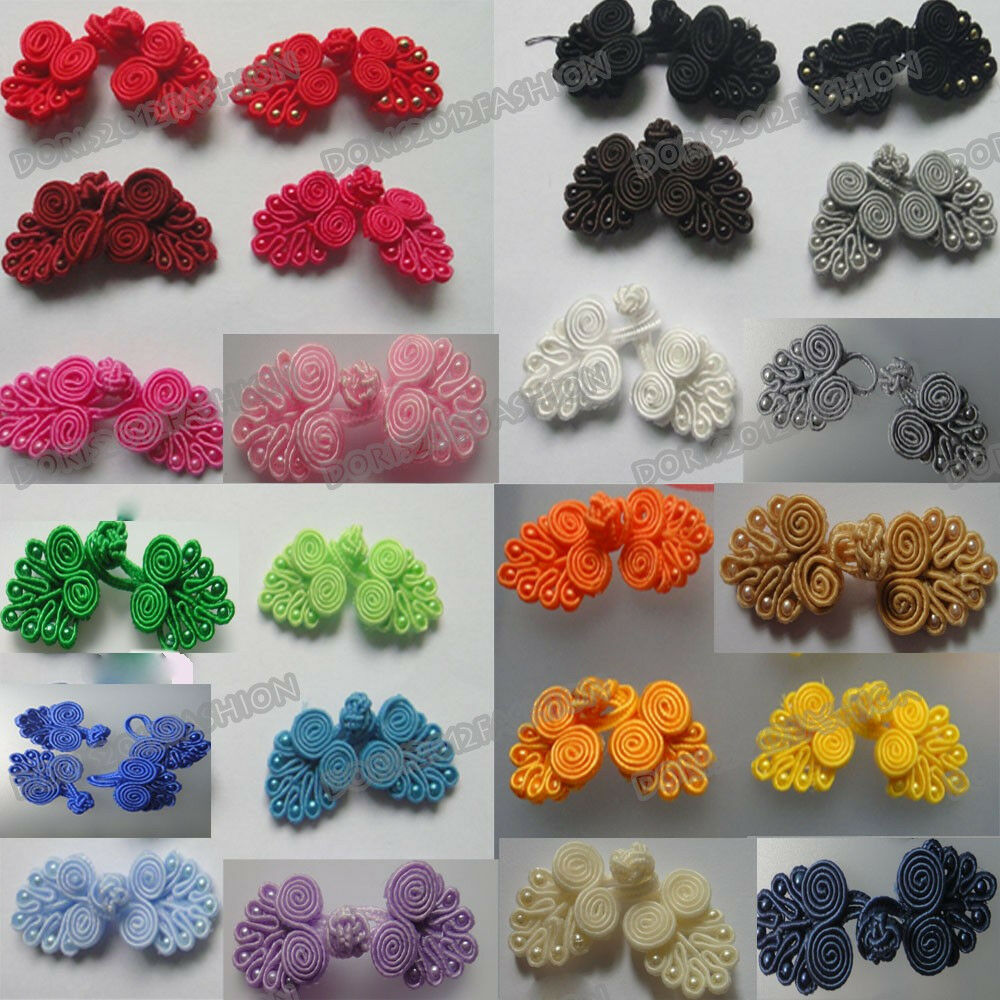 ... 5pairs 24color pick Chinese frog closure fasteners knot buttons | eBay