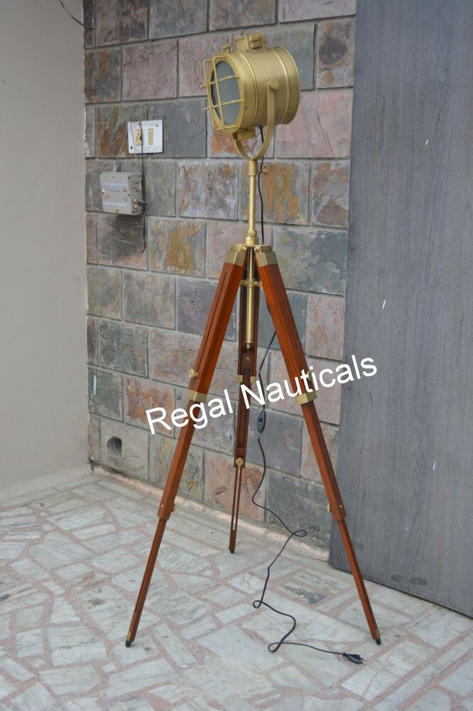 Photographers antiques solid steel spot searchlight timber for Photographer s tripod floor lamp bronze finish