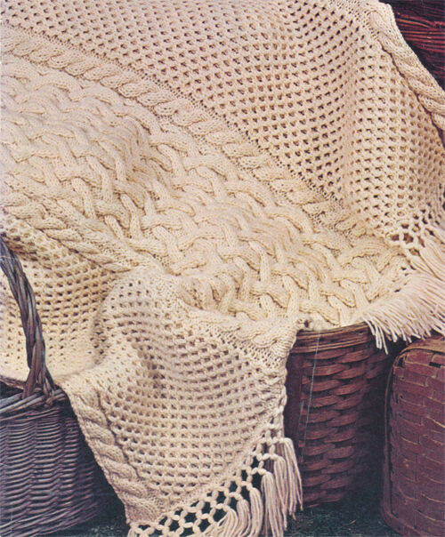 Free Knitting Patterns 4 Ply : Knitting Pattern in 4 ply, Aran style Knitted Blanket- Vintage 1960s eBay