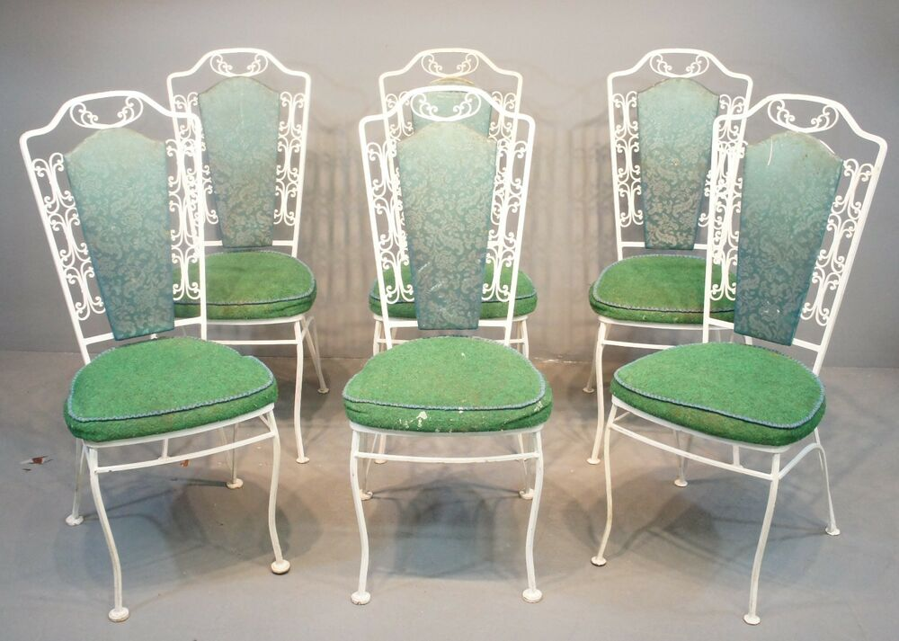 Quality Set Of 6 White Wrought Iron & Green Upholstered