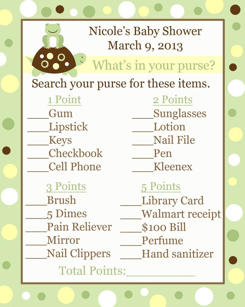 24 Baby Shower Game Cards Whats in Your Purse Game Turtle and Frog ...
