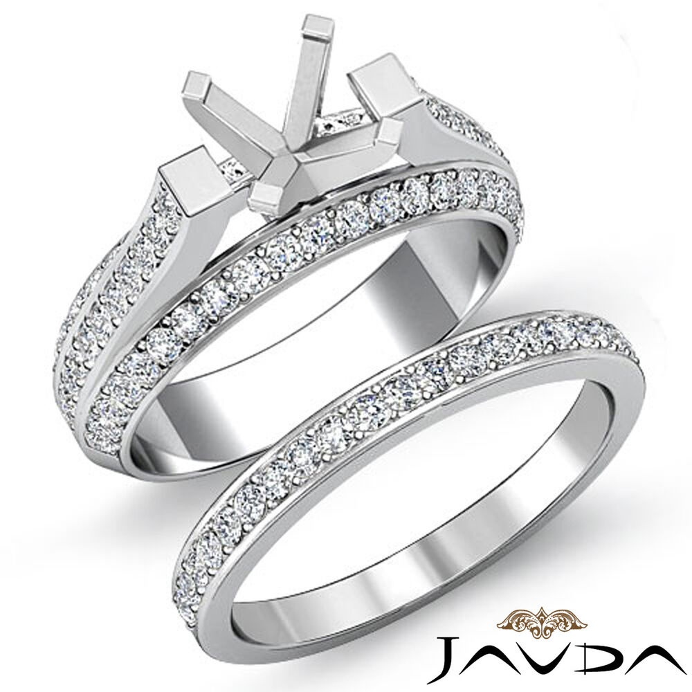 Diamond Engagement Pave Ring Round Bridal Sets 14k Gold