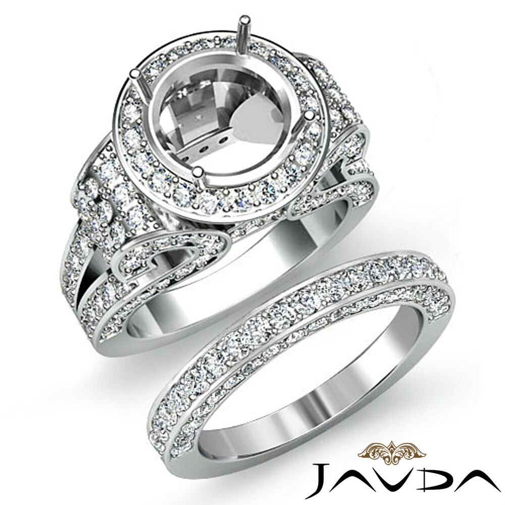 Diamond Engagement Ring Round Halo Pave Setting Bridal Set