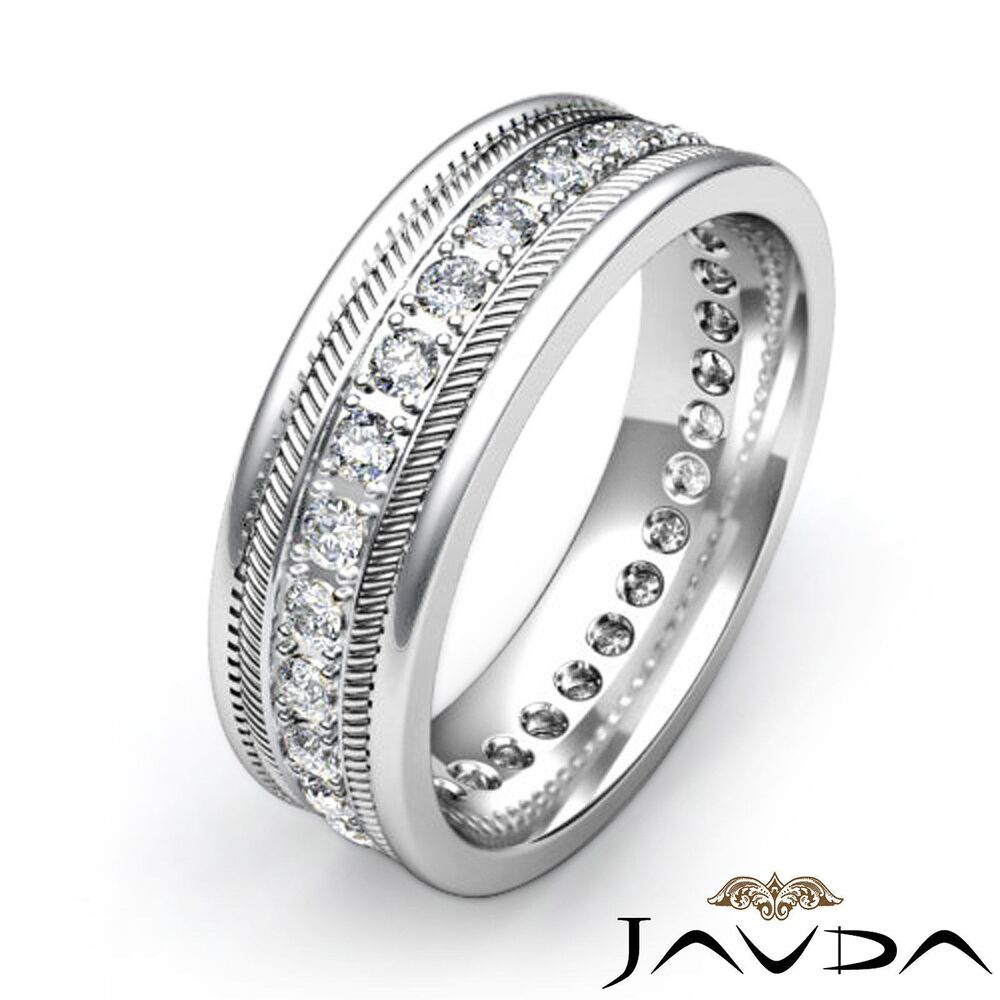 round pave diamond mens solid ring eternity wedding band