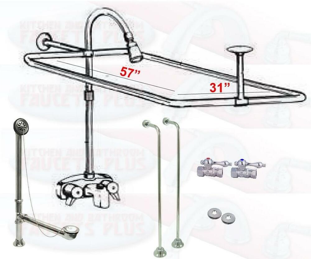 Chrome Clawfoot Tub Faucet Add A Shower Kit W Curtain Rod