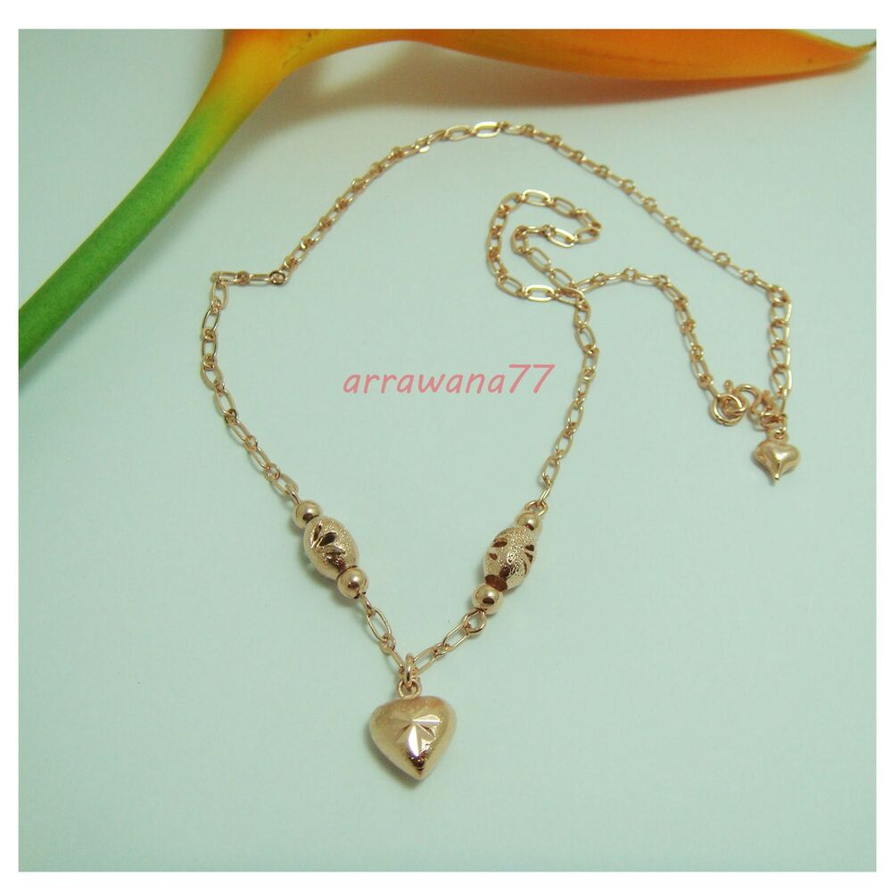 """Thai Gold Necklace: 22K 24K THAI BAHT PINK ROSE GOLD GP 16"""" NECKLACE Jewelry"""