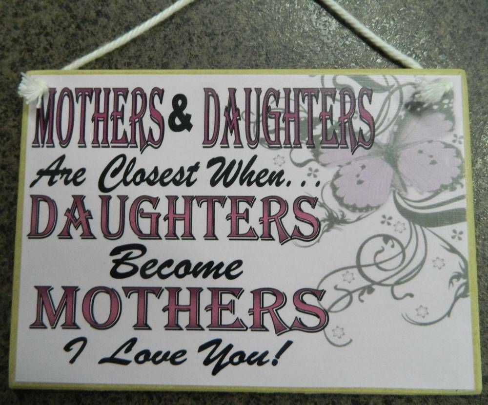 Country Printed Quality Wooden Sign Hanger Mother And Daughters Plaque Ebay