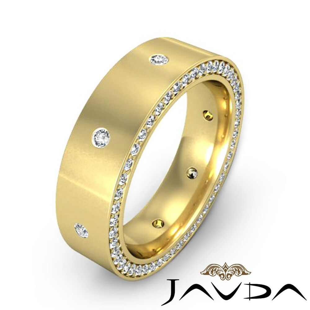 round diamond men eternity wedding band 14k yellow gold. Black Bedroom Furniture Sets. Home Design Ideas