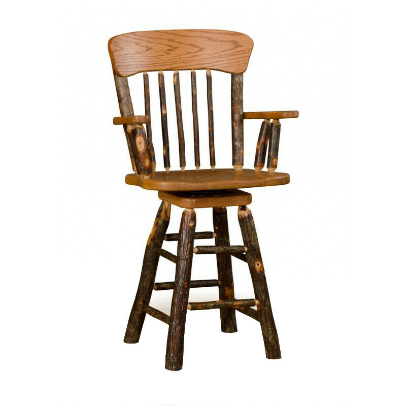 Rustic Hickory Panel Back 30 Quot Swivel Stool With Arms