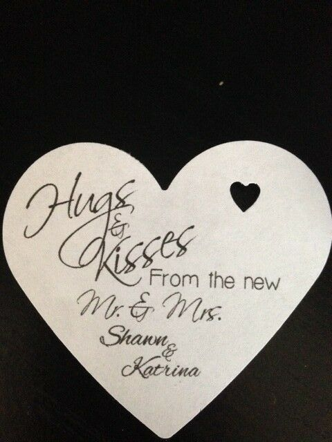 PERSONALIZED Heart Shape Wedding Favor Gift Tags Hugs Kisses Mr Mrs ...