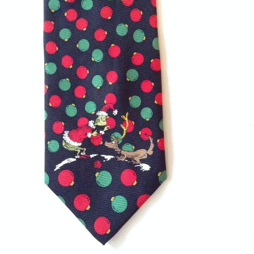 Grinch Christmas Dr Seuss 100% Silk Mens Neck Tie Max Dog Red Green ...