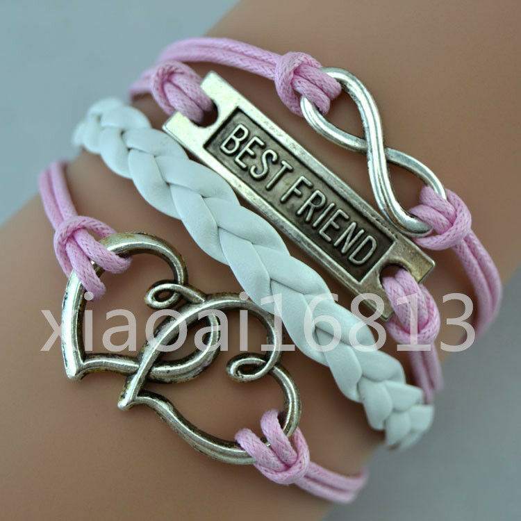 Best Friend Charm Bracelet: Fashion Infinity BEST FRIEND Double Hearts Charms Leather