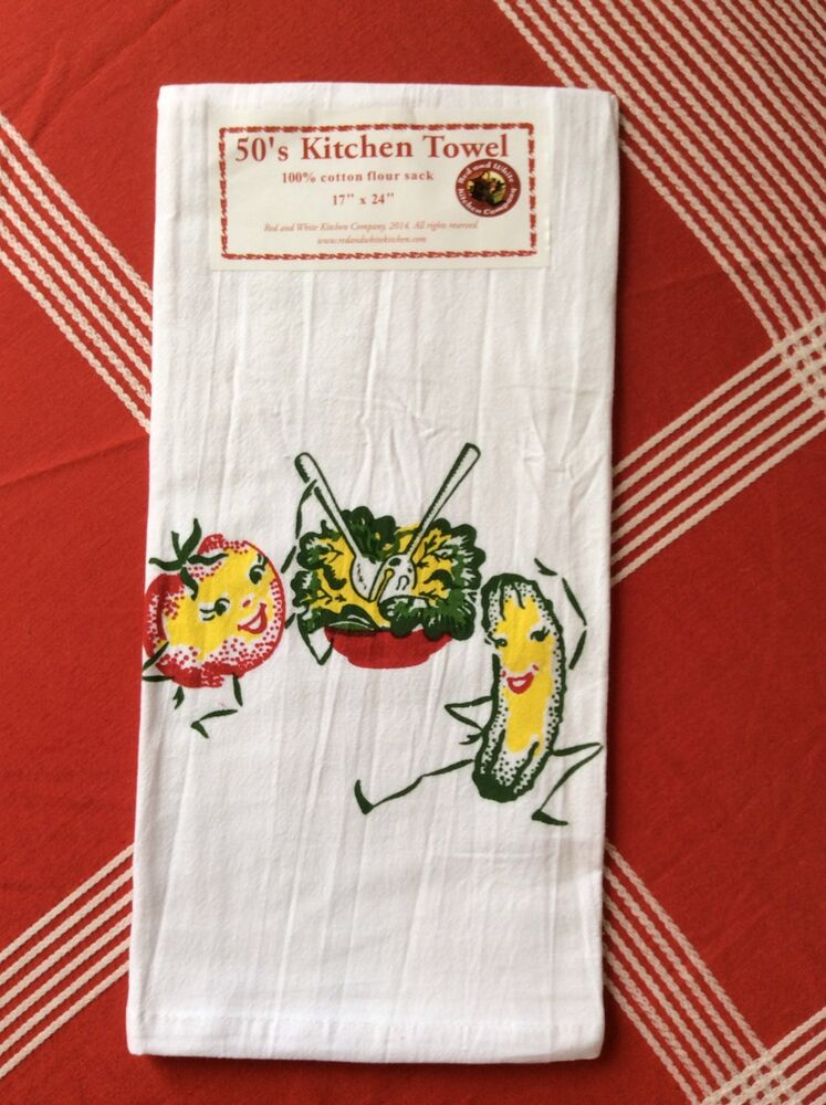 new retro vintage style cotton flour sack 50 39 s kitchen towels sassy salad ebay. Black Bedroom Furniture Sets. Home Design Ideas