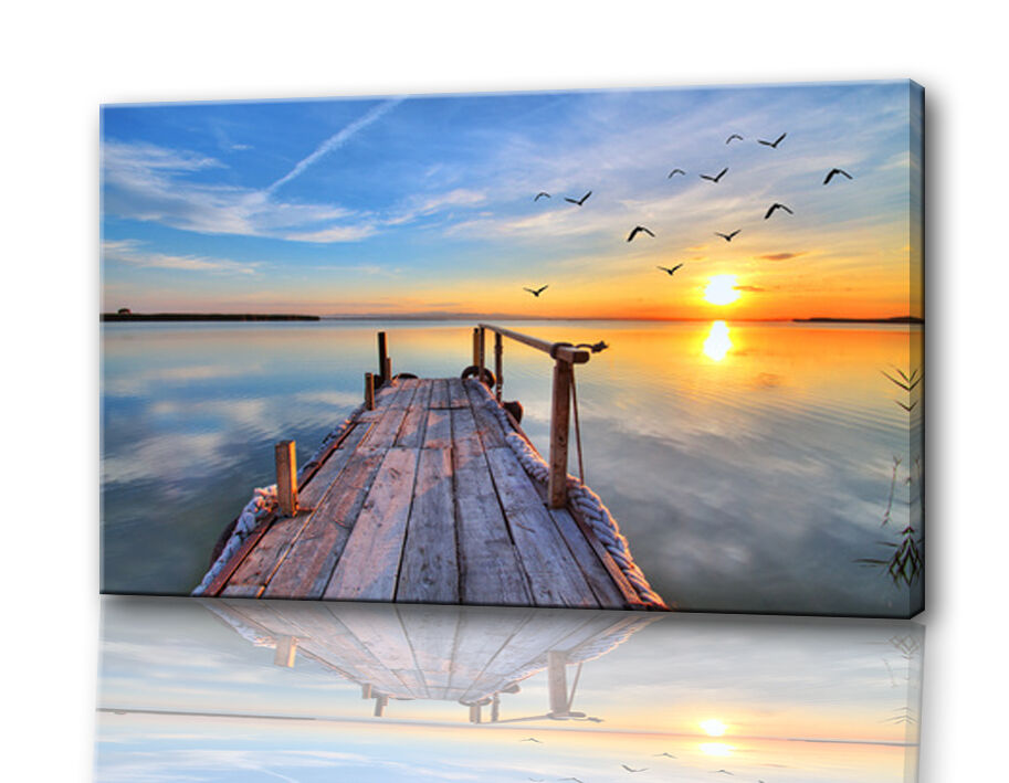 bild foto auf echter leinwand see sonnenunterg nge natur deko kunstdruck ebay. Black Bedroom Furniture Sets. Home Design Ideas