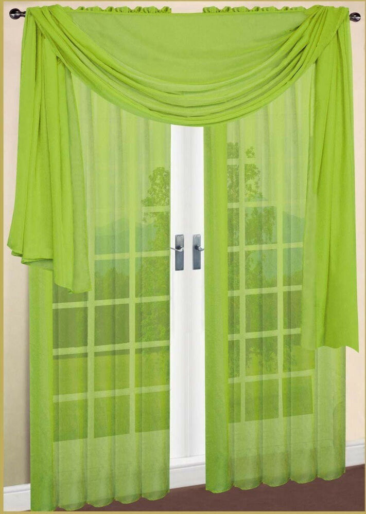 Set Of 2 Sheers Voile Curtains 84 Quot Long Lime Green Ebay