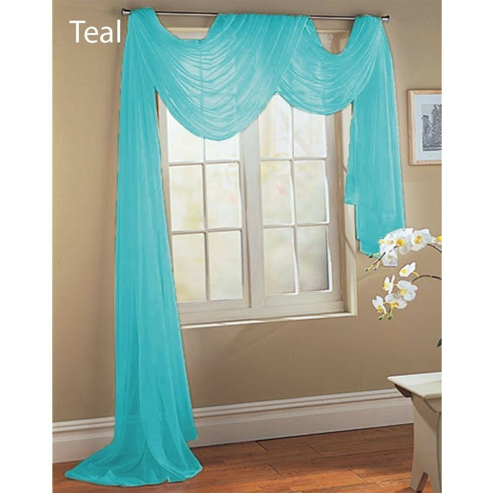 1 Teal Aqua Turquoise Scarf Sheer Voile Window Treatment Curtain Drape Valance Ebay