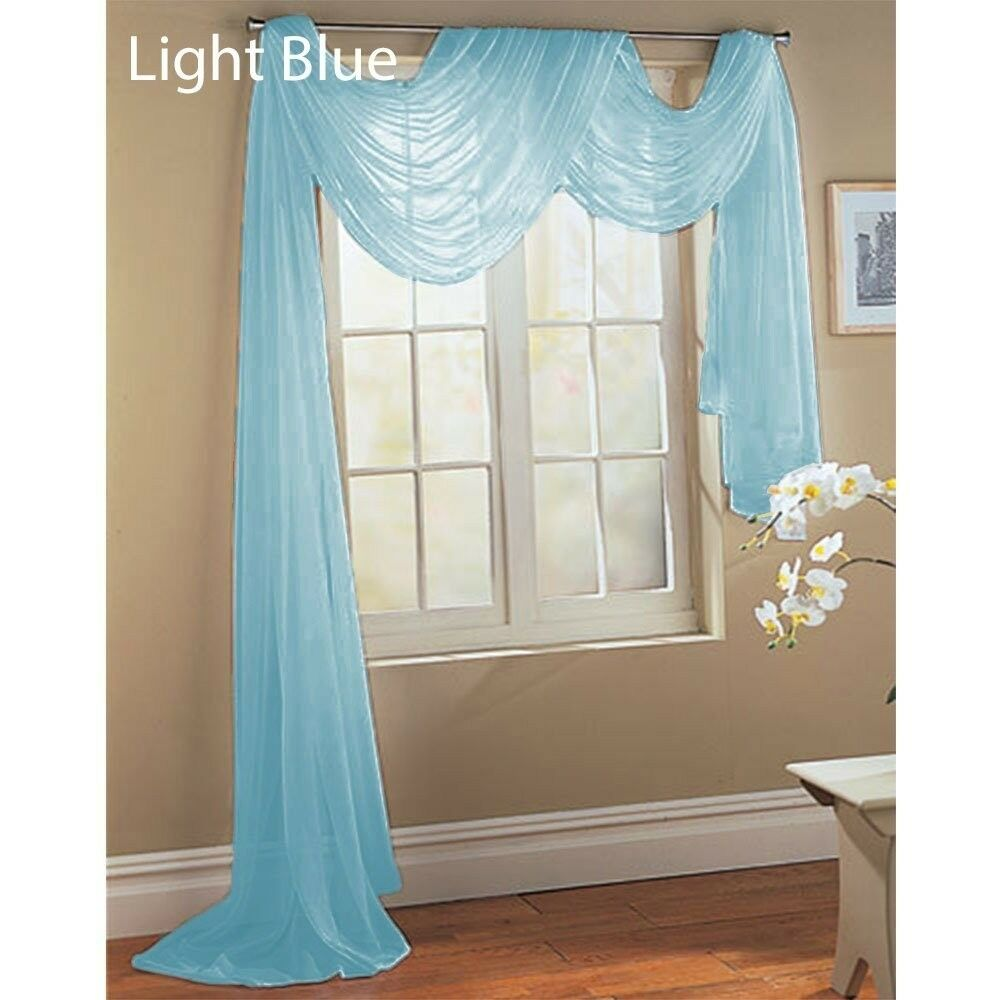 BABY LIGHT BLUE SCARF SHEER VOILE WINDOW TREATMENT CURTAIN DRAPES ...