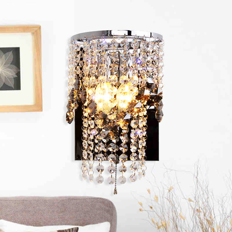 New Luxury Crystal Stainless Steel Switch Wall Lights