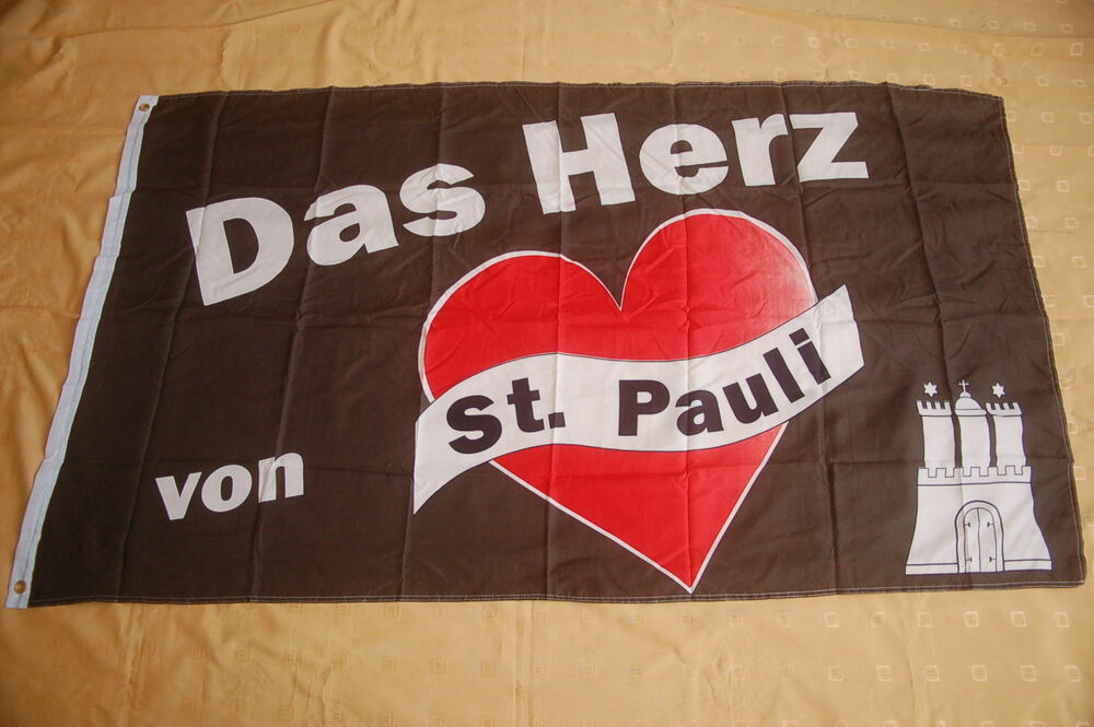 das herz von st pauli flagge fahne 90 x 150 cm ebay. Black Bedroom Furniture Sets. Home Design Ideas