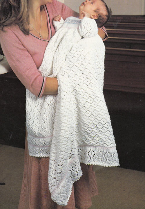 Knitting pattern-Baby christening dress and Shawl in 4ply ...