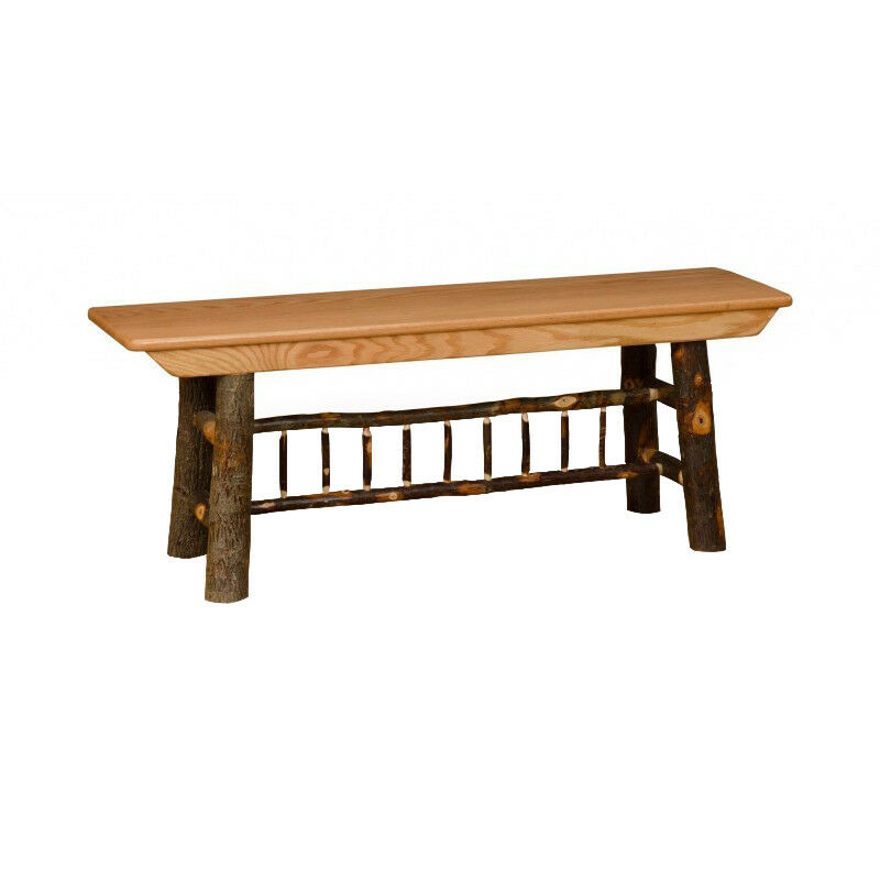 Hickory Oak Rustic 5 39 Farm Bench Amish Made Usa Ebay