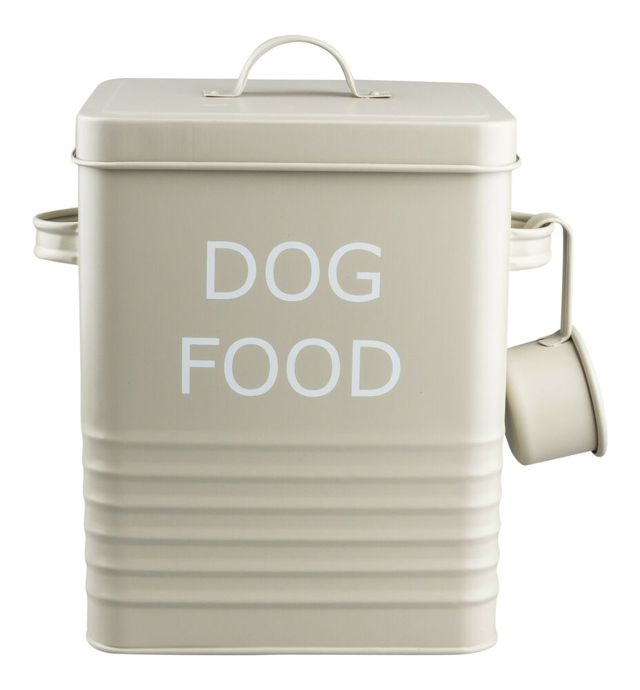 Vintage Style Dog Food Tin Storage Box In Olive For Dry