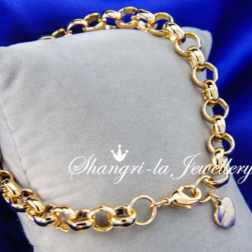 Gold Link Bracelet Womens: Solid 9K 9CT Yellow GOLD GF Belcher Ring RINGS Link CHAIN